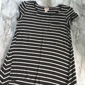 T shirt dress striped pocket • s